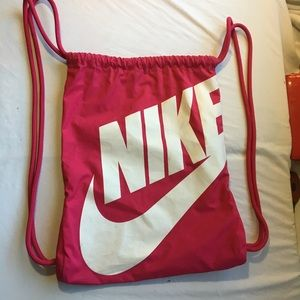 Pink Nike draw string backpack